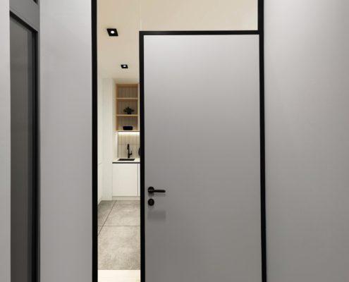 Plné dveře v prosklené dělící příčce DIGERO