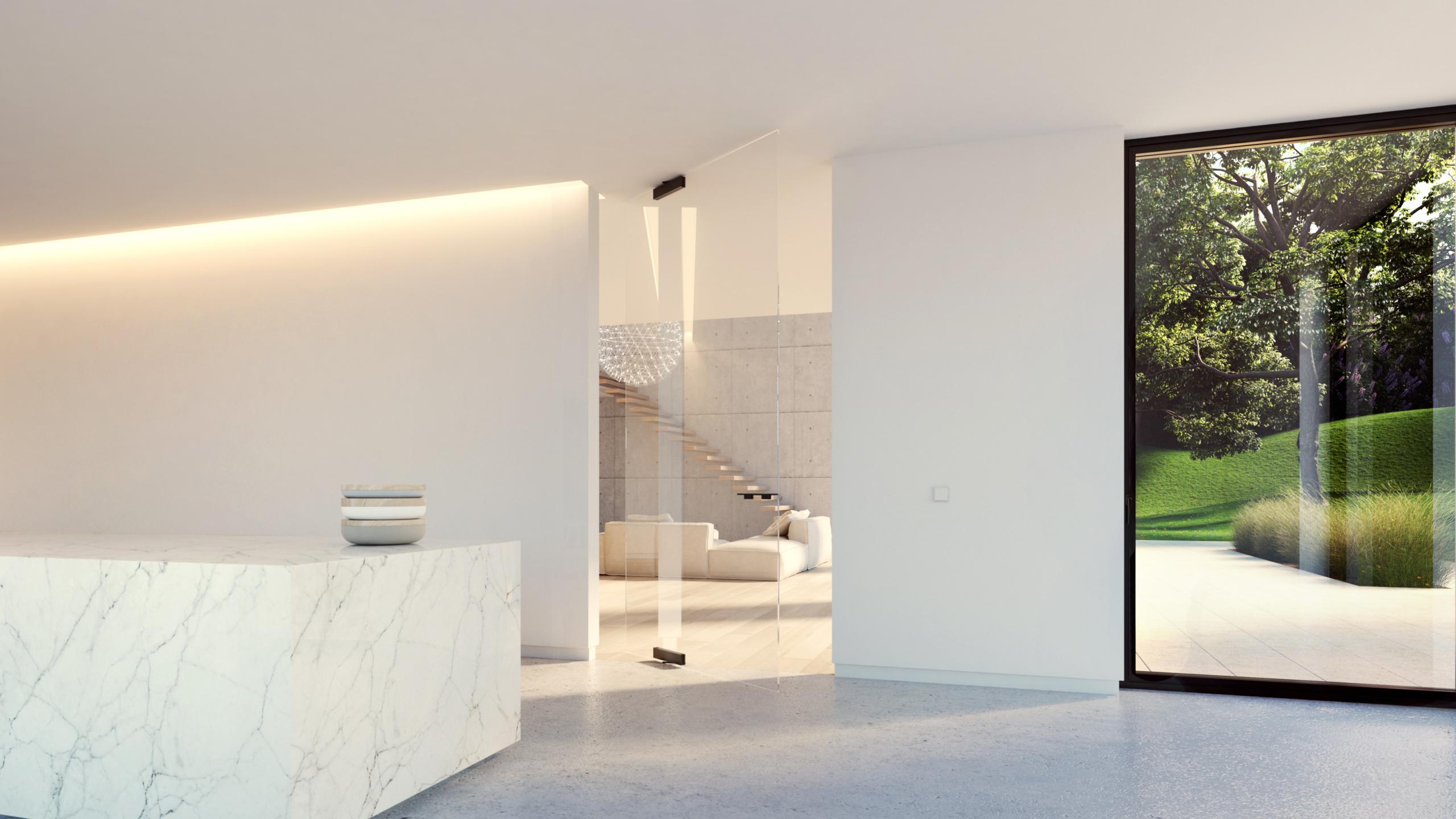 skleněné pivotové dveře
