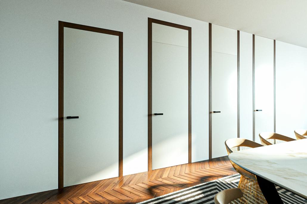 Typy bezobložkových bezfalcových dveří woody