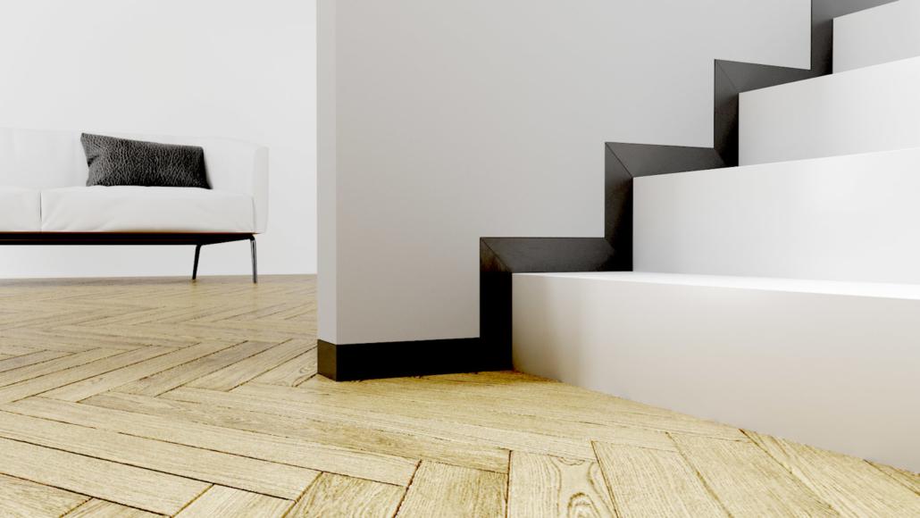 Skrytá soklová - podlahová lišta LINUS použití na schodišti