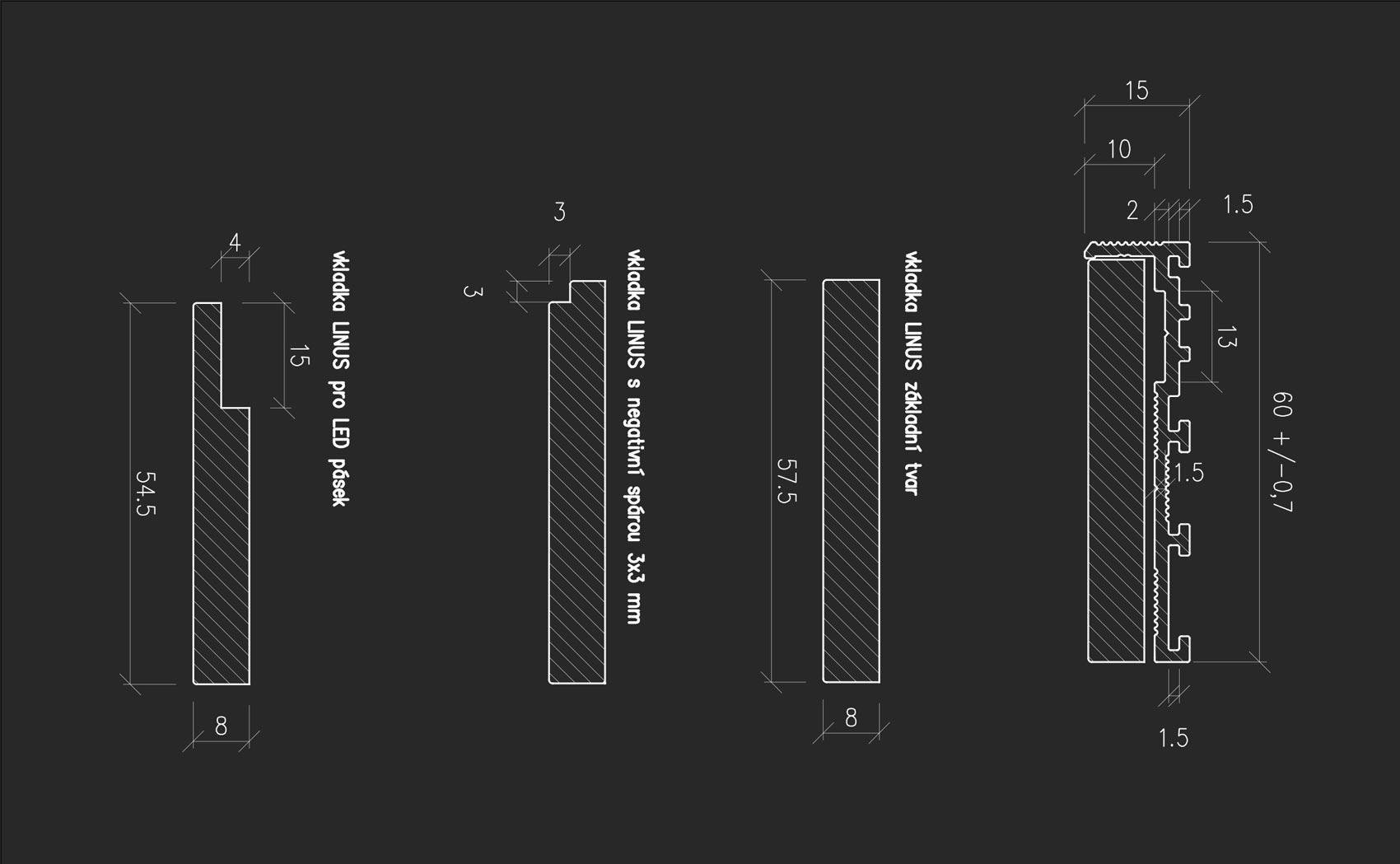 Okótované typy vkladky pro skrytou soklovou lištu LINUS 15 a 13