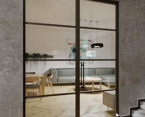 industriální dveře DORSIS a skrytý sokl LED